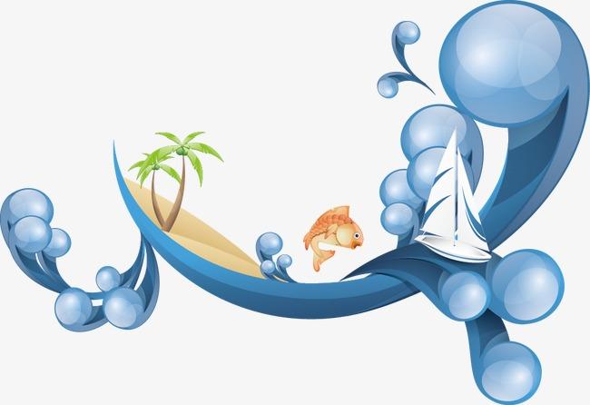 矢量素材跳跃海浪浪花summer水纹