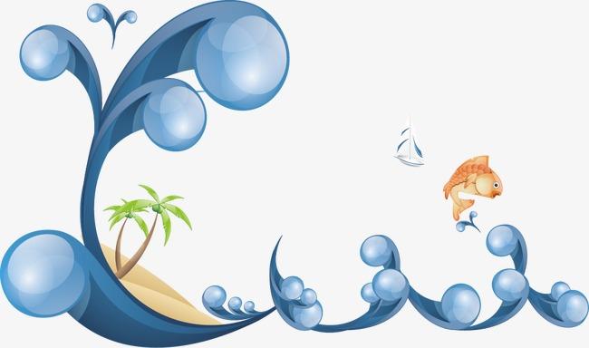 """海浪浪花鲤鱼跳跃鱼类帆船海边沙滩椰子树夏日夏天summer水纹""""summer"""