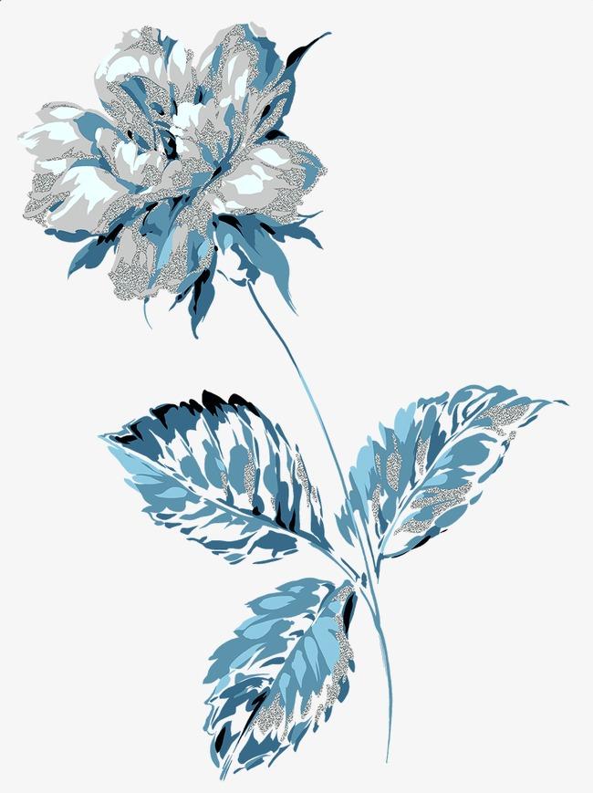 手绘蓝色花