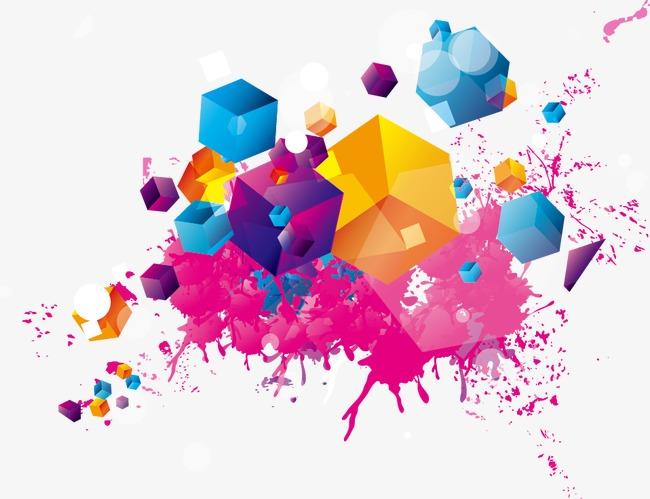 炫彩墨迹图案图片下载潮流立体方块墨迹喷溅色块时尚矢量素材潮流时尚