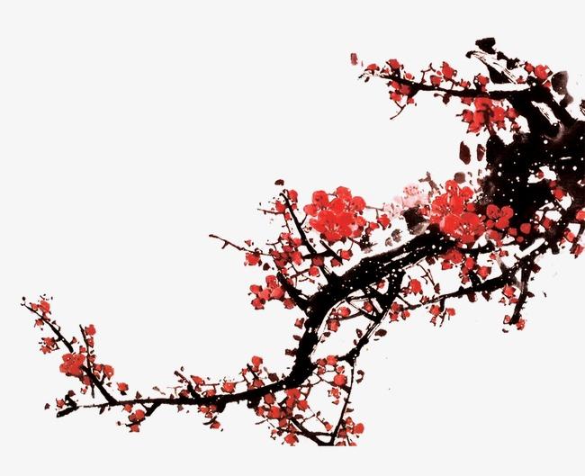 古代手绘国画中国风梅花