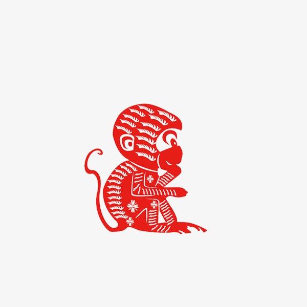 猴剪纸素材矢量图
