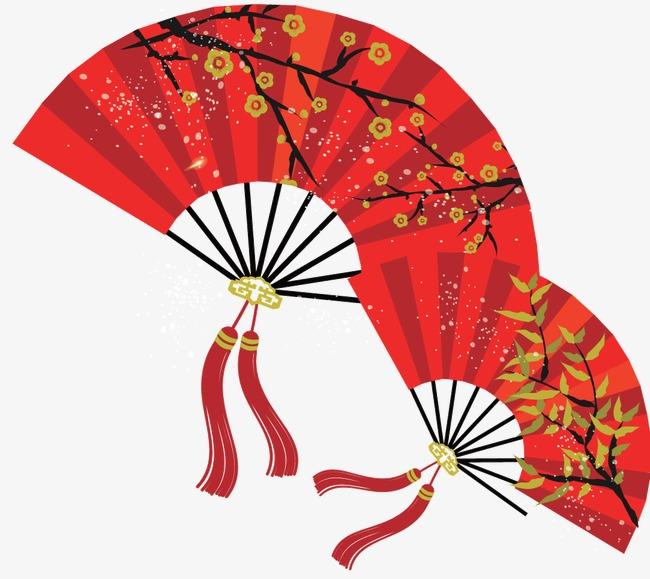 红色中国风扇子