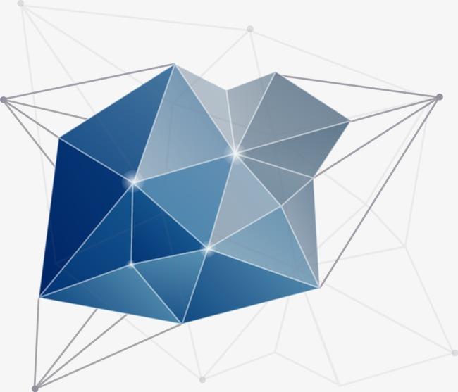 蓝色几何拼接图案