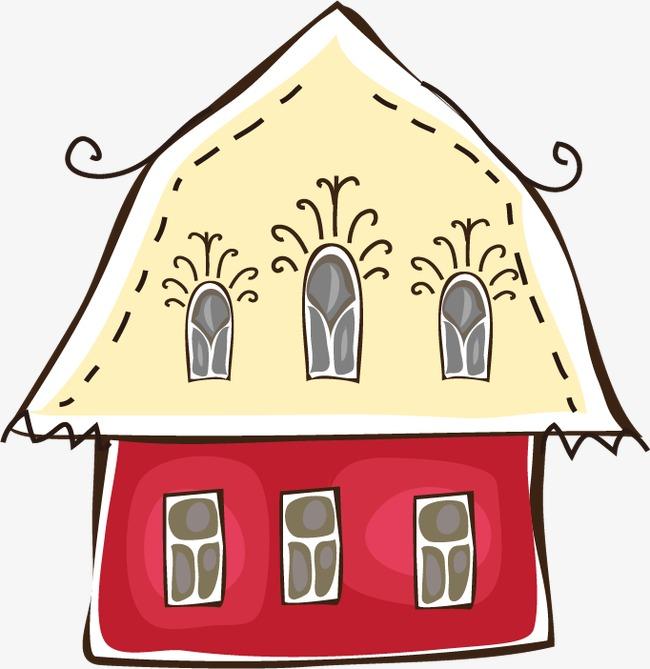 卡通红色房子