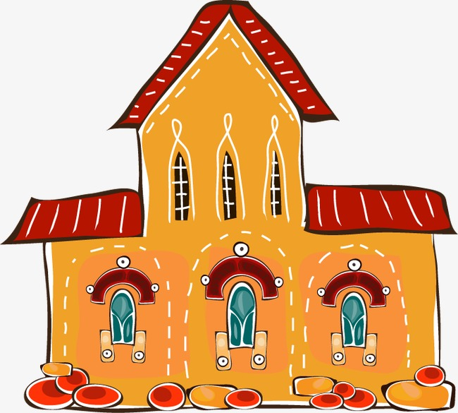 卡通城堡房子背景壁纸psd分层