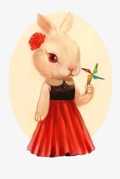 手绘水彩兔子素材图片免费下载_高清装饰图案png_千库