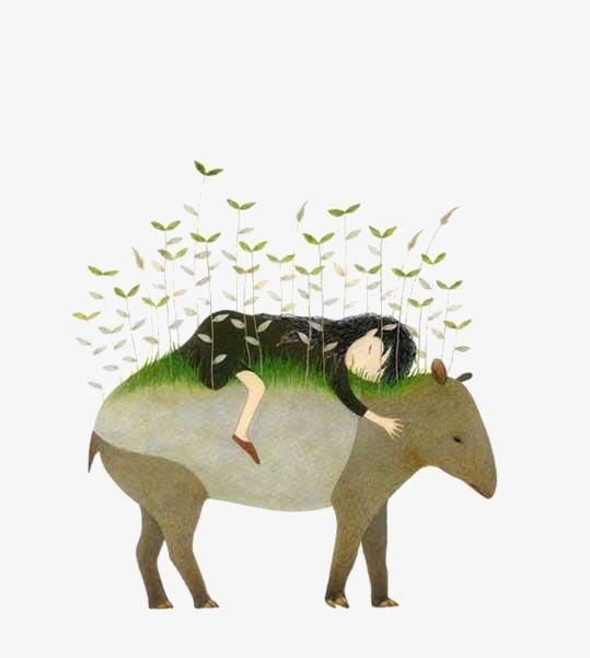 手绘水彩抽象牧童【高清装饰元素png素材】-90设计图片
