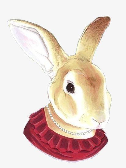 手绘水彩兔子png素材-90设计