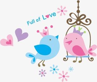 卡通可爱小鸟和微笑小女孩(图片编号:15745896)