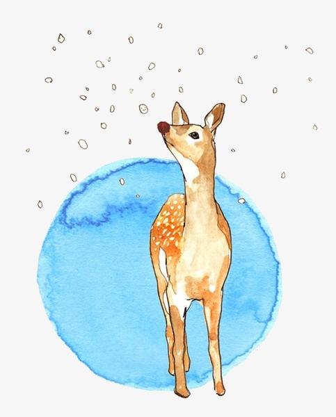 手绘水彩梅花鹿