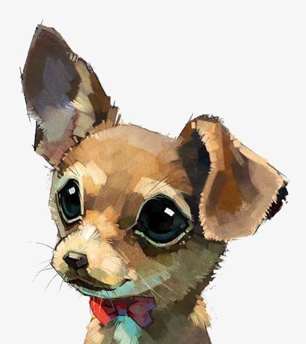 手绘水彩狗狗