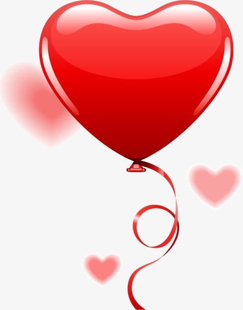 浪漫爱情情人节心形气球丝带
