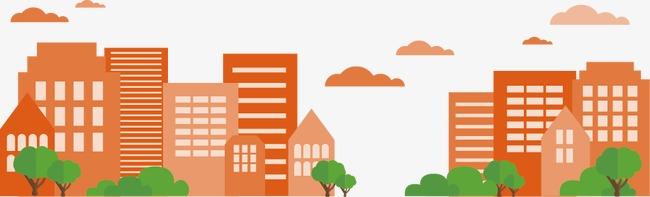 彩色城市楼群图片下载城市城市景观设计房屋建筑剪纸绿树树木云朵城市
