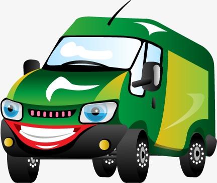 卡通绿色可爱汽车面包车