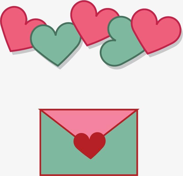 卡通情人节爱情心信封