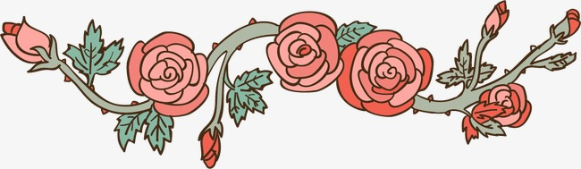 卡通手绘玫瑰花藤蔓(图片编号:15403651)