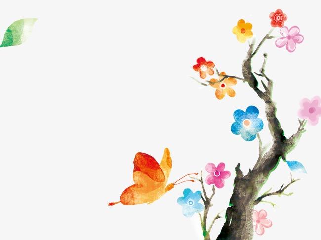 树蝴蝶手绘清新淡雅淡雅淡雅背景淡雅幻灯片背景图片