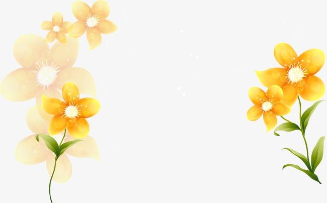 手绘金银花黄色花卉