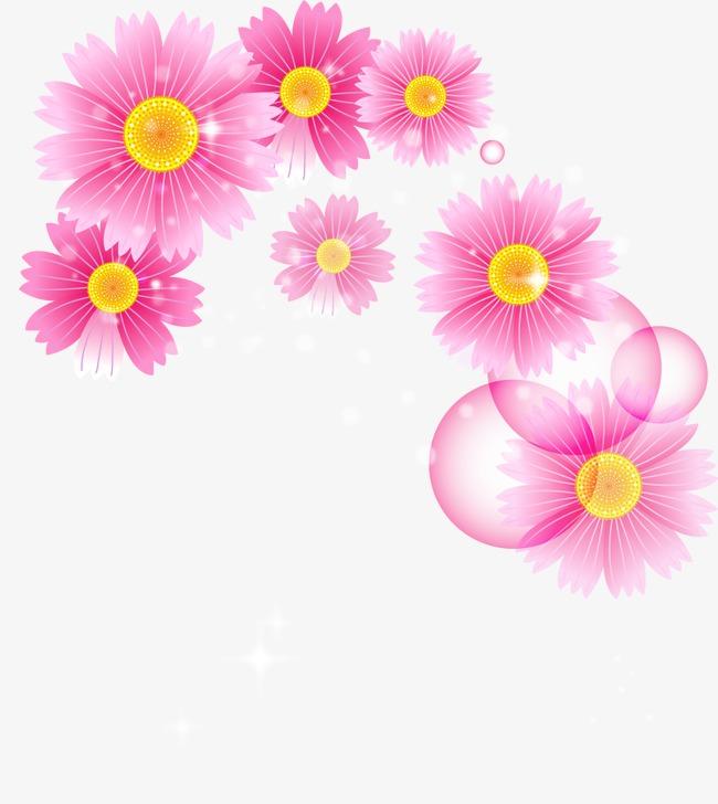卡通粉色唯美花卉