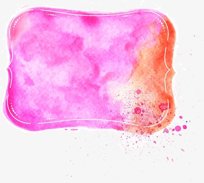 紫色水彩标题边框