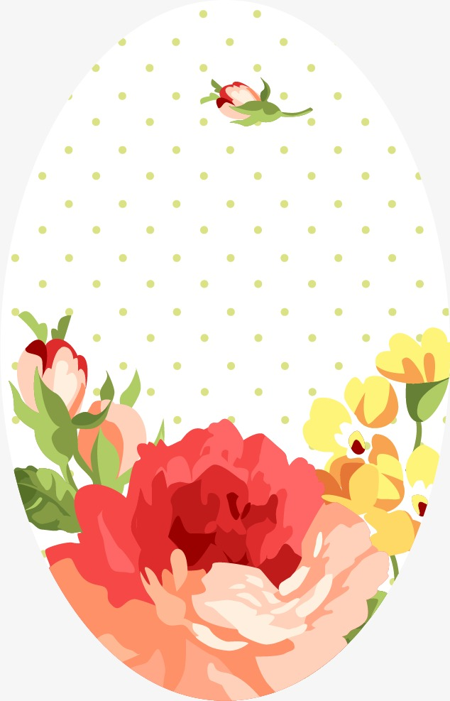 卡通唯美玫瑰花圆形边框