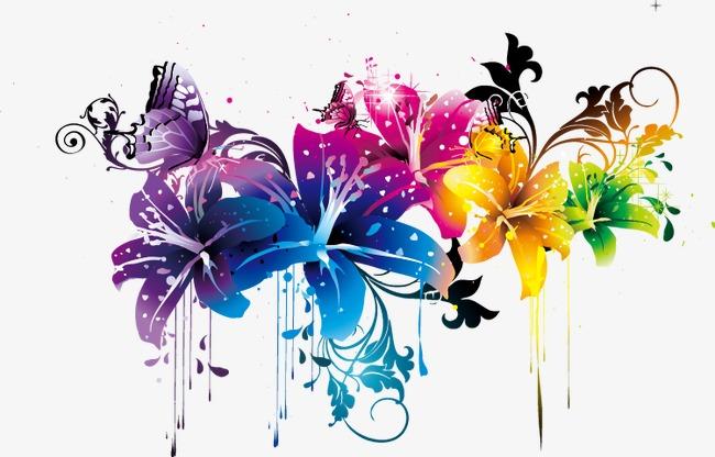 炫彩花卉装饰图片下载百合花潮流纹样花朵花卉炫彩