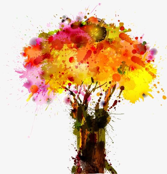 免扣水彩树木和灌木设计元素
