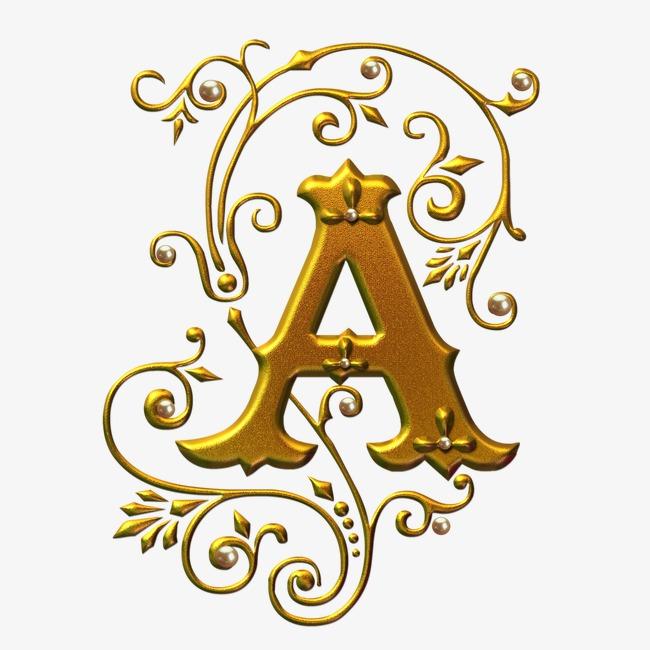 金色字母a图片下载字母艺术字字母设计字体金色字母