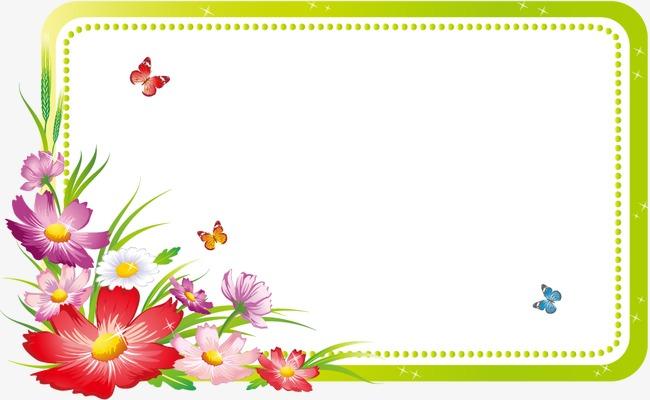 春天清新花卉边框蝴蝶图片