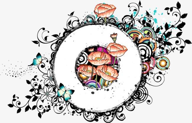 卡通手绘春天标题圆形边框