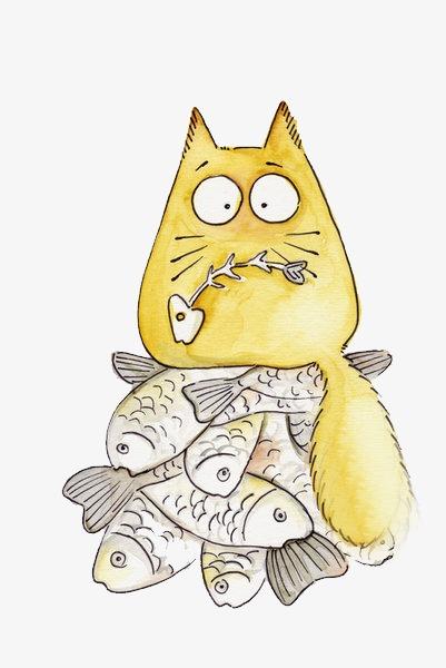 卡通动物可爱图片 猫吃鱼