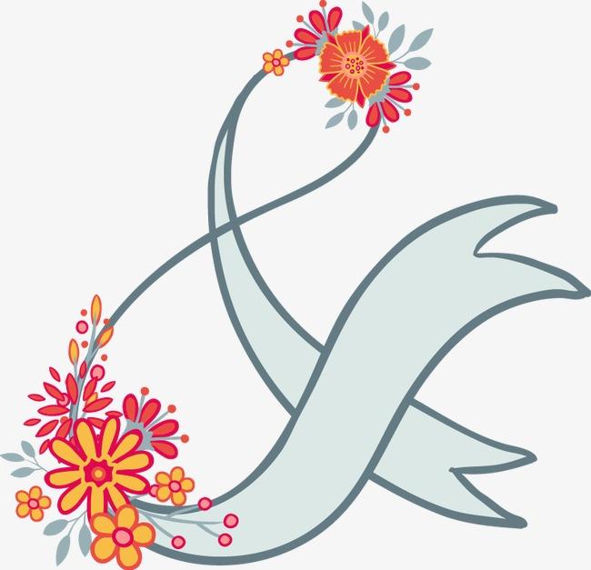 卡通手绘花卉标题导航边框