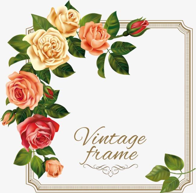 卡通精美欧式玫瑰花边框