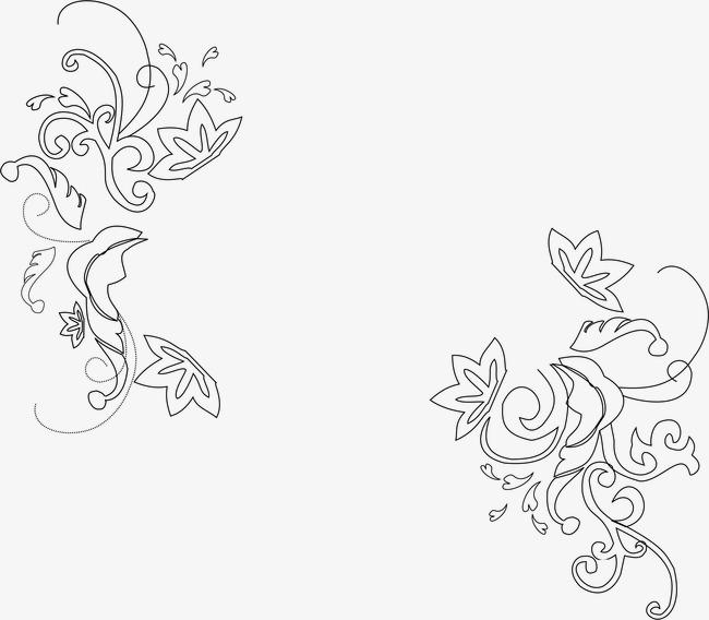 古典花纹时尚花纹 手绘线条花纹【高清边框纹理png】