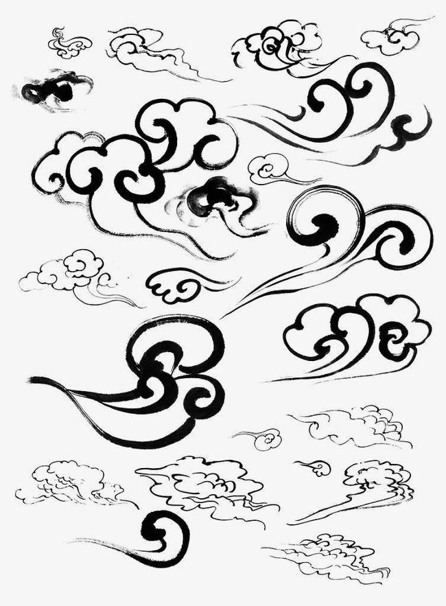 手绘卡通_底纹剪影祥云卡通 中国风手绘祥云png素材