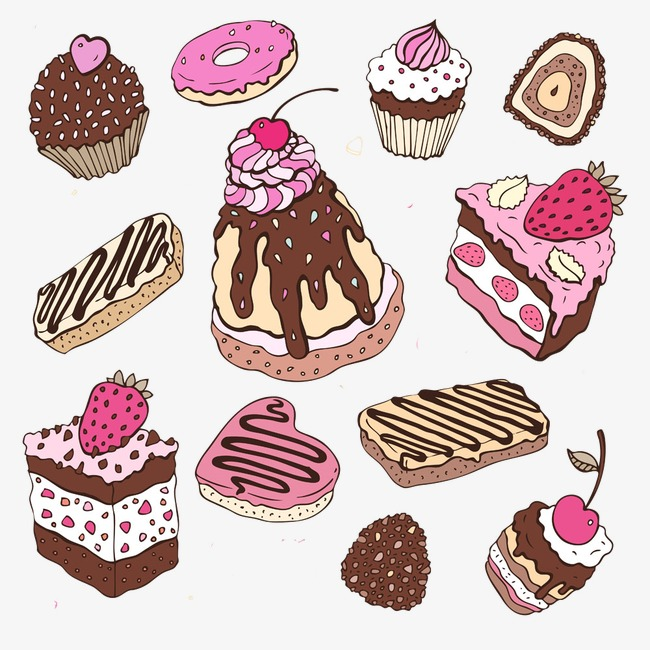手绘巧克力图片美食素描 卡通手绘精美甜品图片