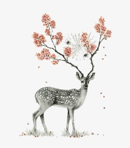 唯美 梦幻素材手绘素材 森林系元素 仙境元素 卡通 手绘 梅花鹿免扣