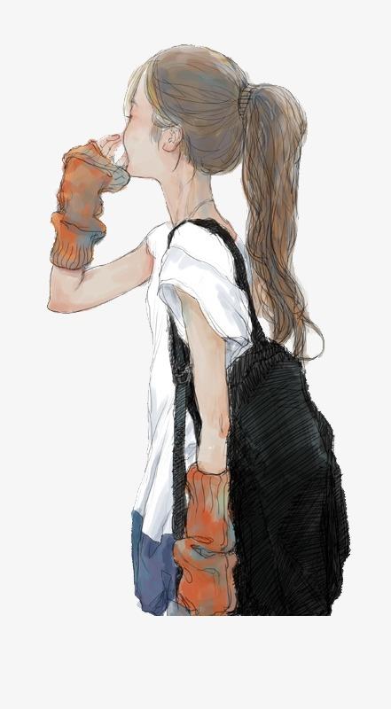 卡通手绘小女孩少女女孩唯美马尾少女卡通图片手绘插画手绘插画黑图片