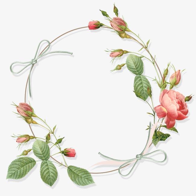 手绘小清新相框卡通玫瑰花花环素材图片免费下载 高清边框纹理png 图片