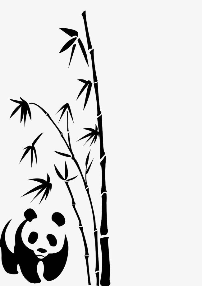 手绘竹叶图片竹枝 竹子 熊猫