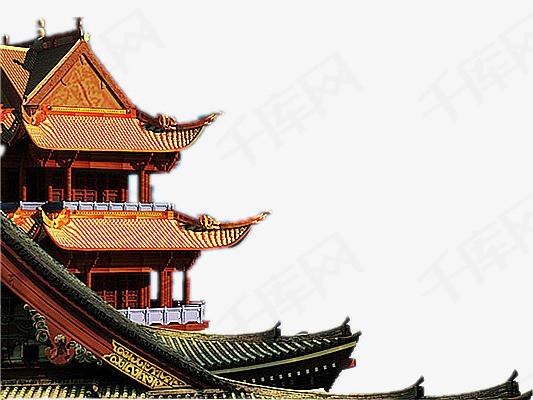 手绘古典卡通古典素材 古建筑房角中国风矢量图中国风图案手绘图片古