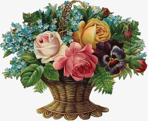 复古花纹手绘花饰素材 欧式精美花篮
