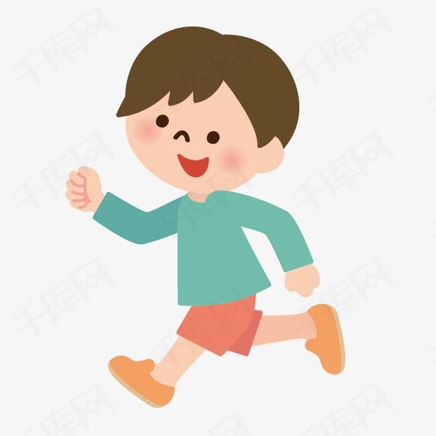 手绘卡通小人卡通小人图片 跑步的小孩素材图