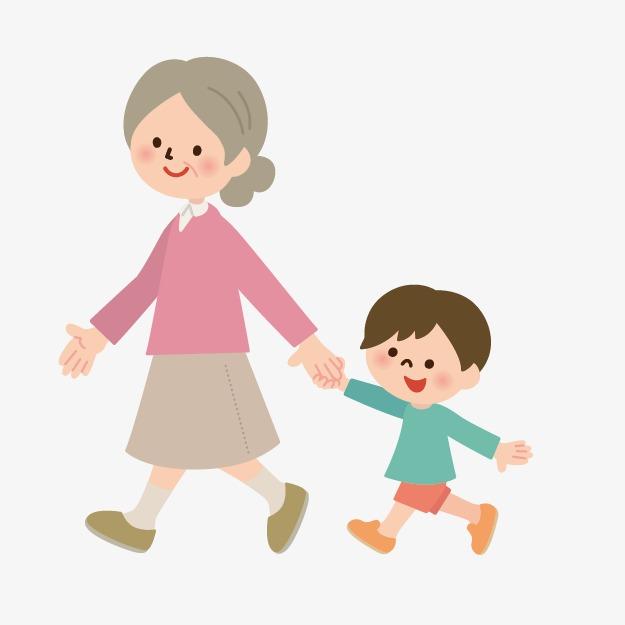 手绘卡通小人 奶奶和孙子图片