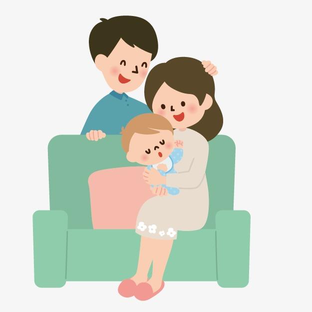 人物素描手绘卡通小人图片 爸爸妈妈和宝宝