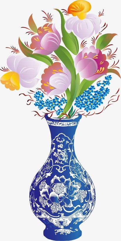 卡通手绘精美花盆卡通手绘精美花盆青花瓷花瓶郁金香-卡通手绘精美