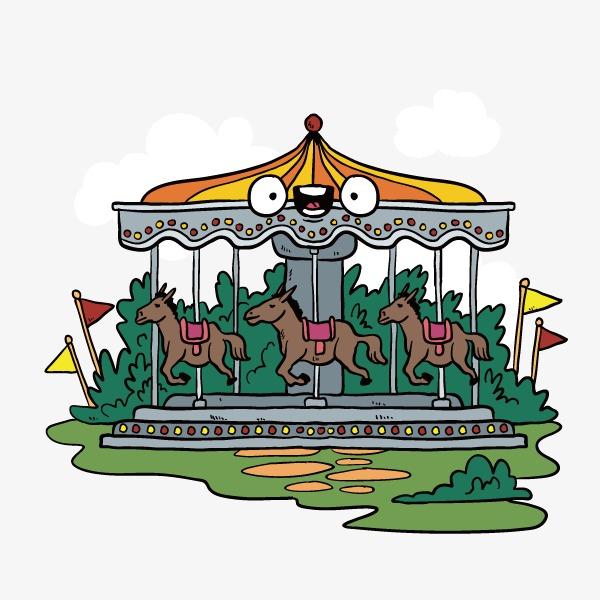 卡通 手绘 可爱 游乐场 旋转木马