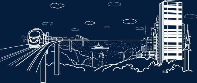 卡通手绘现代都市建筑