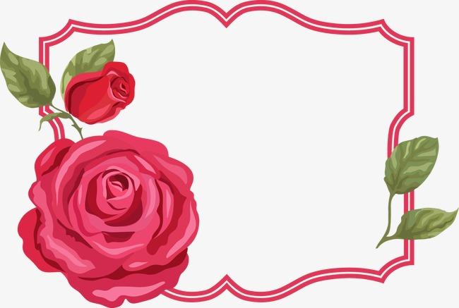 卡通手绘玫瑰花边框